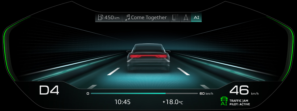 Screenshot of Audi Virtual Cockpit in Audi A8 with Traffic Jam Pilot enabled