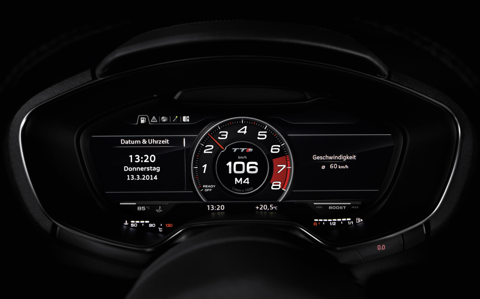 Audi TT Virtual Cockpit showing central tachometer