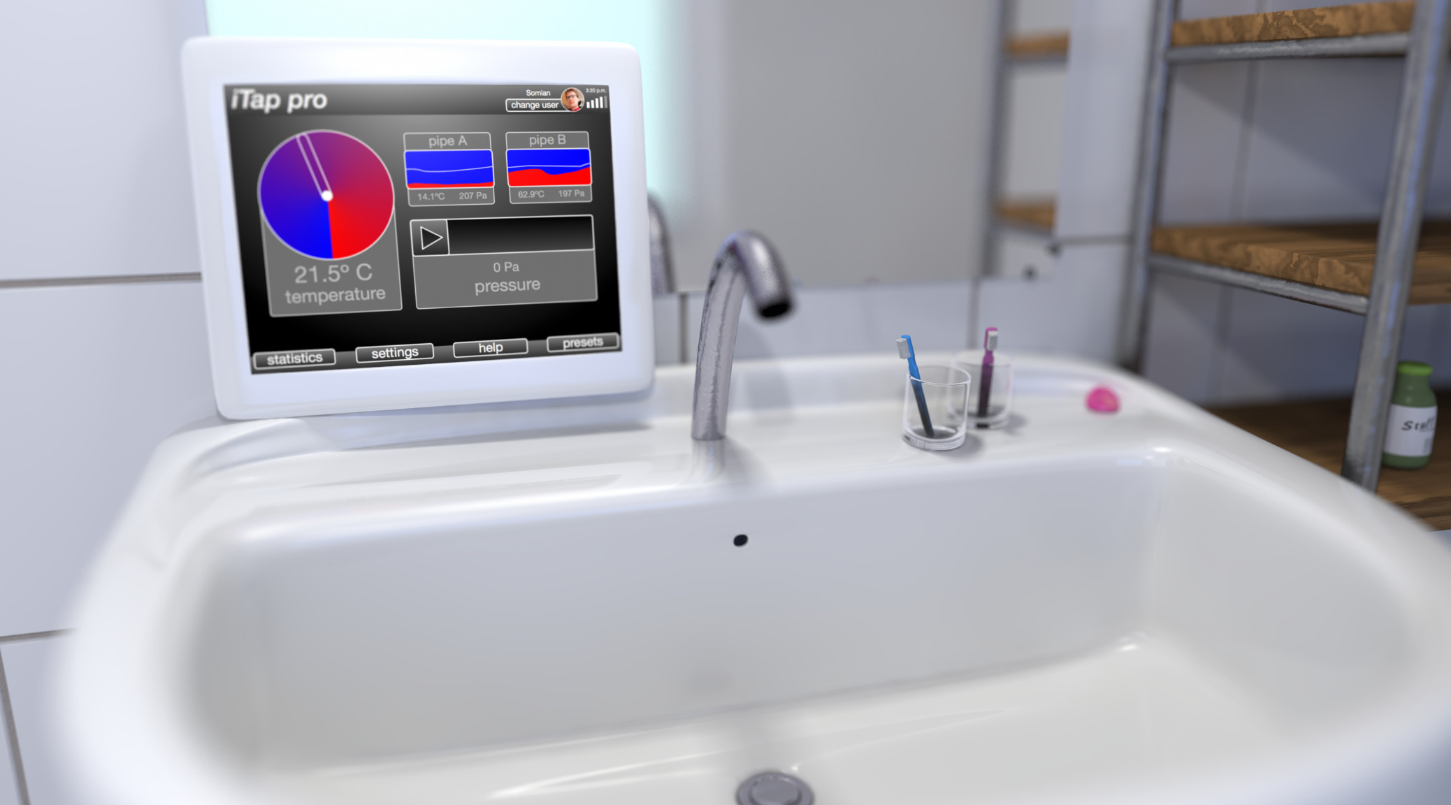 A faucet controlled by a touchscreen